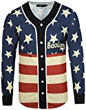 Pizoff Unisex Long Sleeve Baseball Collar Button Down 3D America Stars and Strips Print Breathable Dance Basketball Team Baseball Shirt Y1775-08-L