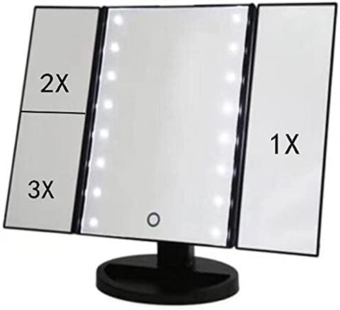 Ovonni Miroir Maquillage Miroir de Table Lumineux Touche Tactile LED Eclairage 9 Empoules LED Miroir HD LED Cosm/étique sur Pied R/églable Style Hollywood Chic Cadeau-Argent/é