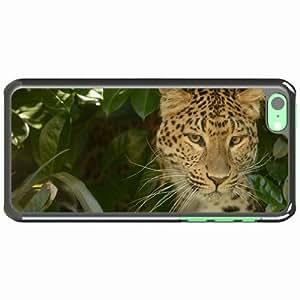 iPhone 5C Black Hardshell Case leopard predator cat Desin Images Protector Back Cover