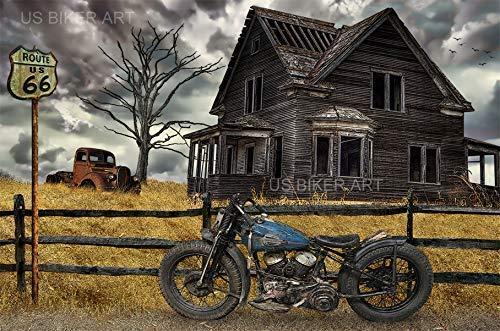 Farms Harley - Harley Davidson Motorcycle Vintage Flathead Route 66 Country Farm Sturgis Biker Art Print