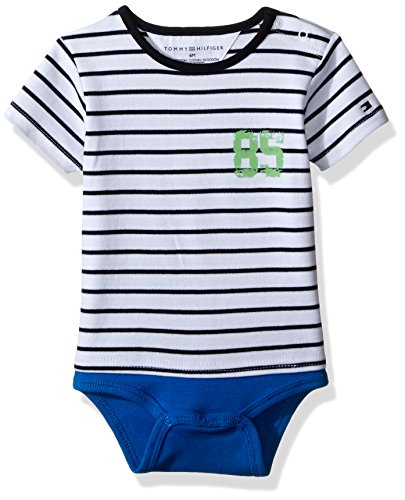 Tommy Hilfiger Baby Boys' Short Sleeve Striped Tommy Bodysuit, Electric Blue, 24 Months