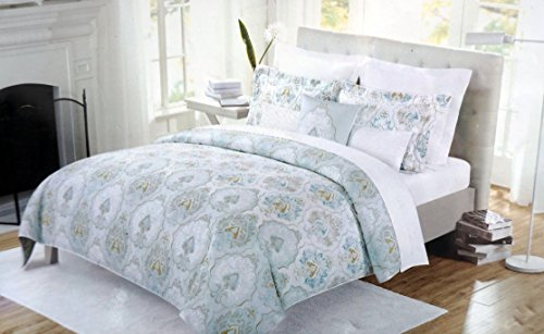 Nicole Miller 3 Piece King Duvet Cover Set with Shams Light Olive Green and Light Blue Floral Medallions on White