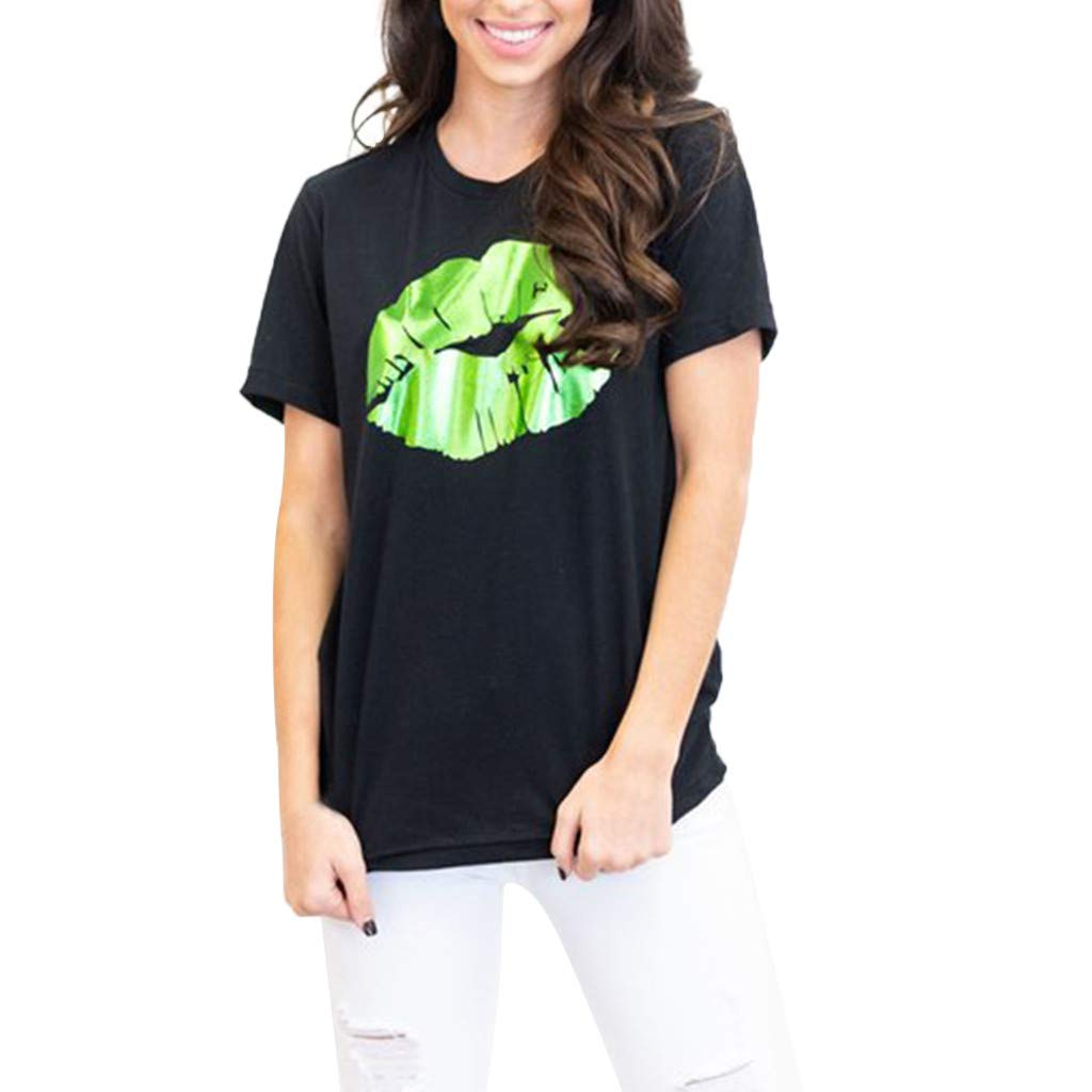 Casual Women St. Patrick's Day Lips Printed Short Sleeve Tops O Neck Tees T-Shirt (M, Black)