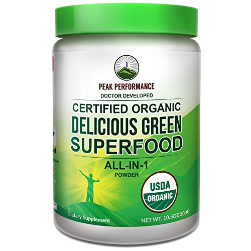 Alkalizing Powder (Peak Performance Organic Greens Superfood Powder. Best Tasting Organic Green Juice Super Food with 25+ All Natural Ingredients for Max Energy & Detox. Spirulina, Spinach, Kale, Turmeric Probiotics)