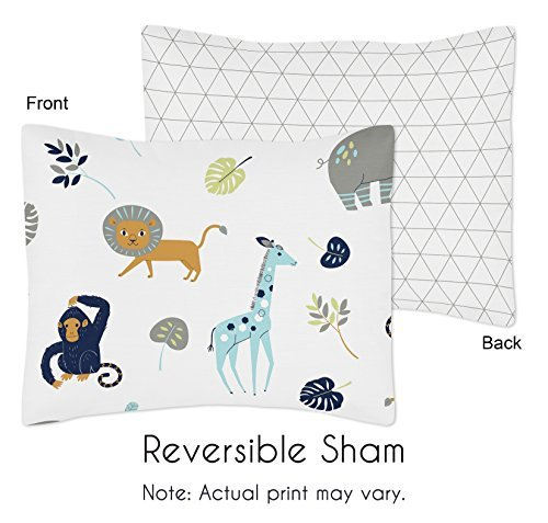 Sweet Jojo Designs Turquoise and Navy Blue Safari Animal Standard Pillow Sham for Mod Jungle Collection