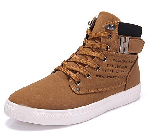 Hot Male Fashion Spring Autumn Men Casual High Top Shoes Canvas Sneakers Leather Shoes Size 11 Brown
