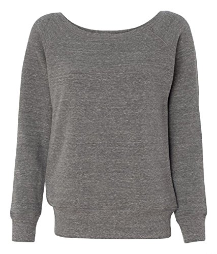 Mia T-shirt Sweatshirt - Bella for Women's Mia Slouchy Wideneck Fleece Sweatshirt, grey heather, Small