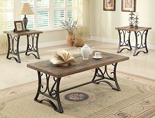 ntique Black Coffee End Table Set 3 Piece ()