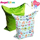 Cloth Diaper Wet and Dry Bags (Pack of 2), Angel Love Baby 2PCS Waterproof Washable Reusable Wet Bag with Two Zippered Pockets - Beach, Pool, Gym Bag for Swimsuits or Wet Clothes L0125