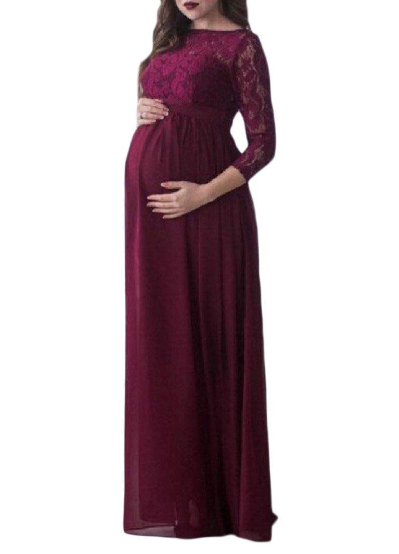 e5eadd990 doufinewomen doufine Mujer baggy embarazadas Mujeres Sexy de encaje manga  larga vestido largo de fiesta