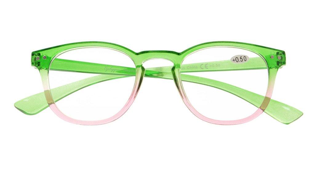 f59eb1dc692 Amazon.com  Eyekepper Fashion Readers Womens Reading Glasses (Green-Pink  Frame