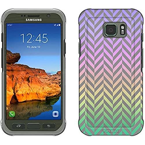 Samsung Galaxy S7 Active Case, Snap On Cover by Trek Rainbow on Chevron Mini Pewter Slim Case Sales
