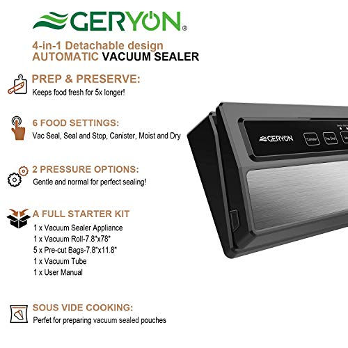 GERYON Vacuum Sealer, Automatic Compact Food Sealer Machine with Starter Bags & Roll, Hose for Food Savers and Sous Vide