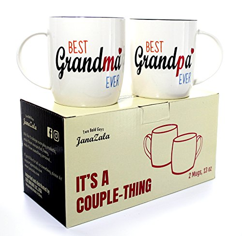 Janazala Best Grandparents Ever Coffee Mugs, Anniversary Gift For Grandma and Grandpa Grandfather and Grandmother Birthday Gifts, Ceramic, 13 oz Cups Set