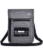 Dioche Pasaporte Cuello Bolsa, Multi-Función de Viaje Pasaporte Cubierta Cuello Bolso Protector Billetera ID Nylon Titular Bolsa, Gris