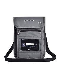 Asixx Portadocumento de Cuello, Bolsa de Viaje para El Cuello,con Bloqueo RFID,de Tela de Nylon,para Colocar Tarjeta O Pasaporte,Etc