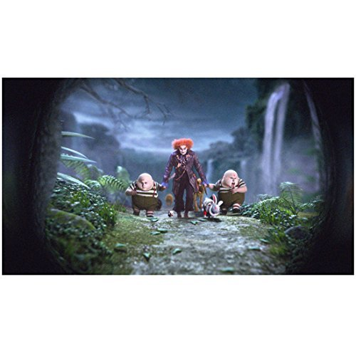 (Alice Through the Looking Glass 8x10 Photo Johnny Depp as Mad Hatter Holding Hands & Walking w/Tweedledum & Tweedledee Pose 1)