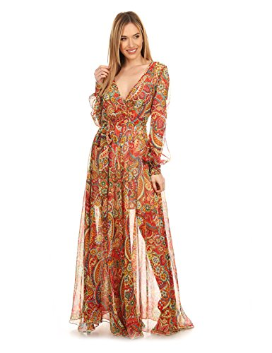 Diva - Maxi Flared Printed Dress With full keyhole Sleeves (Dress Tie Tangerine)