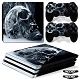 Mcbazel Vinyl Decal Protective Black Skull Skin Cover Sticker with Lightbar Decals for PS4 Pro Console & Controller