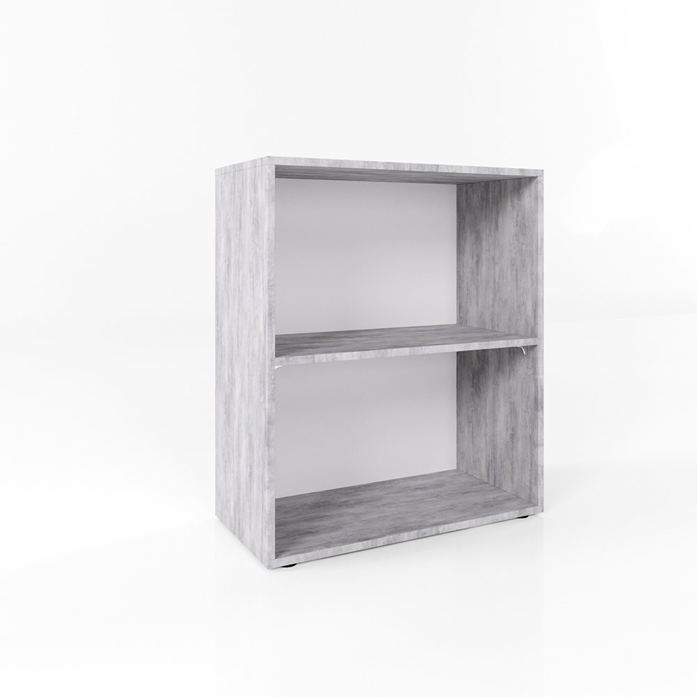 Bücherregal Grau Beton 78 x 60cm - 2 Fächer - Wandregal Holzregal ...