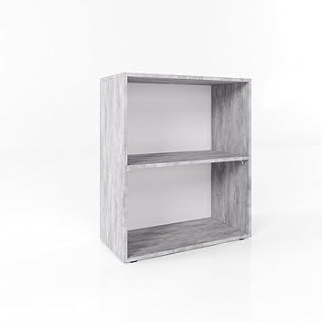 Bücherregal Grau Beton 78 X 60cm 2 Fächer Wandregal Holzregal