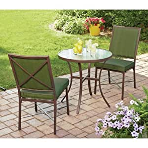 Outdoor Patio Bistro Set 3-Piece Seats for 2 Table and 2 Stackable Chairs Garden Furniture Includes Cushions Durable and Sturdy Powder-Coated Steel Frames, Green + Expert Guide from Love-Store