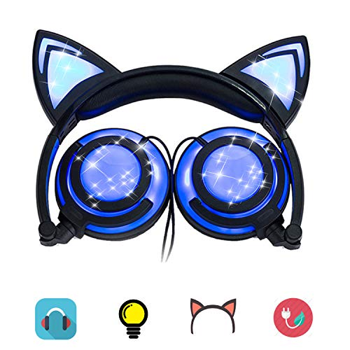 Headphones Cat Ear Inspired Headband - Universal USB Rechargeable Foldable LED Lights Gaming Headsets Adults and Kids Girls Flashing Headphones for Phone Laptop Mp3 3.5mm Jack Device (T107 Bule-EP2)