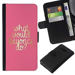 KLONGSHOP // Tirón de la caja Cartera de cuero con ranuras para tarjetas - lo que iba a hacer músico oro artista rosa - Samsung Galaxy Core Prime //