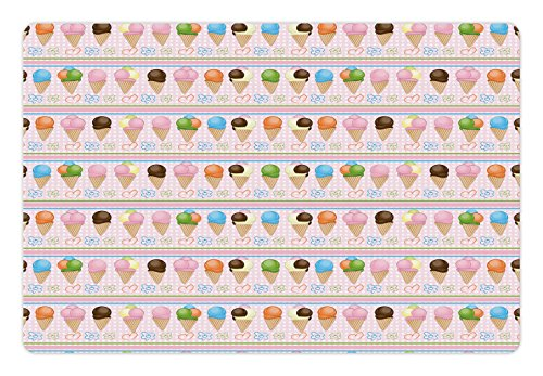 Ice Cream Pet Mats for Food and Water by Lunarable, Horizontal Borders with Dots Stripes Creamy Milky Desserts Flowers and Hearts, Rectangle Non-Slip Rubber Mat for Dogs and Cats, Multicolor (Milky Dots)