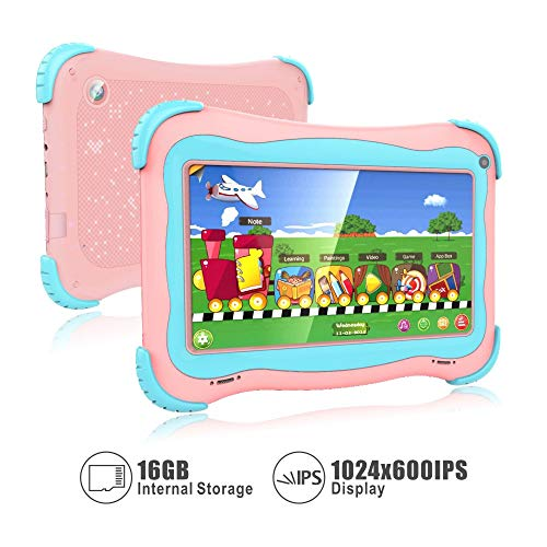 Kids Tablet, 7 Android Kids Tablet Kids Edition Tablet Childrens Tablet with WiFi Camera 1GB + 16GB Parental Control (Pink)