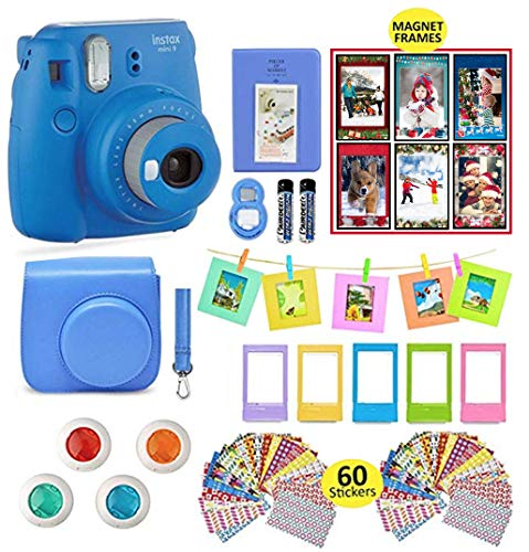Fujifilm Instax Mini 9 Instant Camera with Accessories | Bundle of Soft Leather Case + Mini Photo Album + 6 Magnet Frames + 4 Colored Lenses + Selfie Lens + 10 Photo Frames + Stickers + More