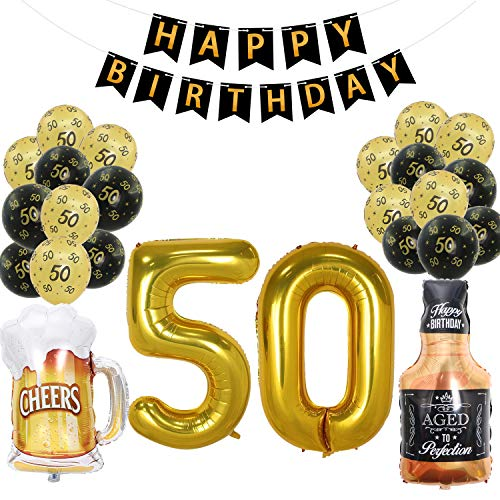 Joymee 50th Birthday Decorations Supplies Pack-Black Happy Birthday Banner with Shiny Gold Letters,Large 50 Number and Beer Mug Whiskey Bottle Mylar Balloons,Printed 50 Latex Balloons ()
