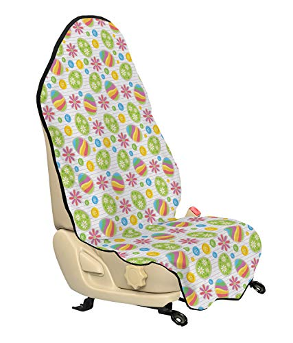 Ambesonne Easter Car Seat Hoody, Patchwork Style Graphic Scrapbook Pattern with Daisy Sewing Buttons and Egg, Car and Truck Seat Cover Protector with Nonslip Backing Universal Fit, Multicolor