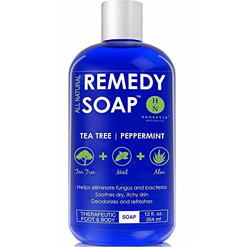 Price comparison product image Remedy Antifungal Soap, Helps Wash Away Body Odor, Athlete's Foot, Nail Fungus, Ringworm, Jock Itch, Yeast Infections and Skin Irritations. 100% Natural with Tea Tree Oil, Mint & Aloe 12 oz
