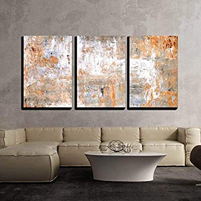 3 Piece Canvas Wall Art - Grey and Brown Abstract Art Painting - Modern Home Art Stretched and Framed Ready to Hang - 16