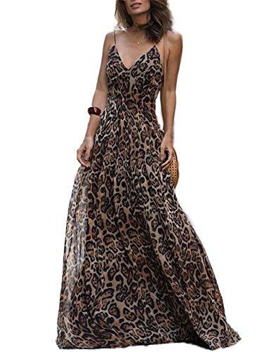 Ao&Mo Womens Spaghetti Strap Leopard Maxi Long Dress XL - Leopard Print Sexy Dress