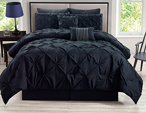 KingLinen 8 Piece Rochelle Pinched Pleat Black Comforter Set Queen (All Bedroom Black Set)