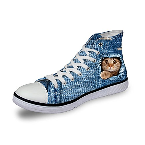 Bigcardesigns Dames Casual Hoge Top Canvas Schoenen 3d Dieren Geprinte Flats Sneakers Blauw 1