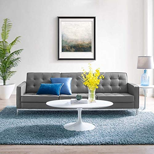 Modway Loft Tufted Button Faux Leather Upholstered Sofa