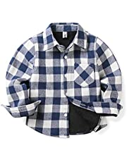 OCHENTA Boys' Fleece-Lined Plaid Flannel Shirt, Little Big Long Sleeve Warm Top Jacket