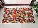 HOMEE Anti-Skid Foot Pad 3D Lotus Fish Three-Dimensional Pattern Stamp Corridor Entrance Door Entrance Carpet Door Mat,3D Shell,50Cm×80Cm