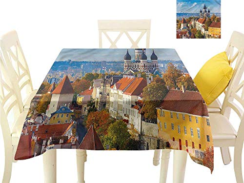 Davishouse Washable Table Cloth Russian Cathedral Old City Washable Polyester - Great for Buffet Table, Parties, Holiday Dinner, Wedding & More W70 x -