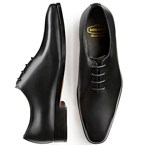Gifennse Mens Classico Moderno Oxford Wingtip Lace Dress Scarpe Nero-1