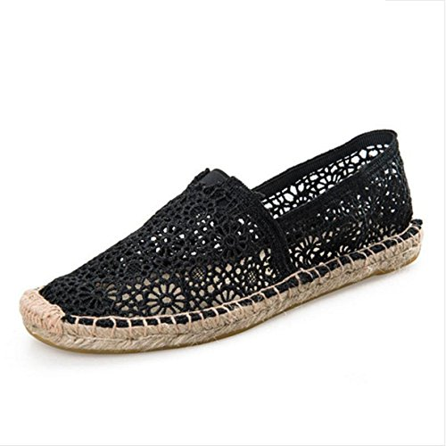 York Zhu Women Flats ,Summer Casual Solid Lace Canvas Driving Loafers
