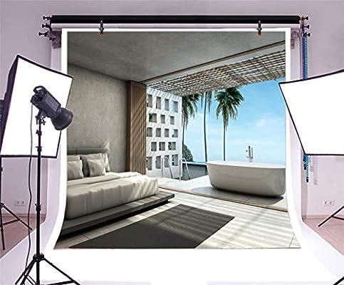 Aliyz 10x10ft Verano Tropical Vacío Vista al mar Dormitorio Telón de Fondo 3D Playa Playa Villa Baño al Aire Libre Piscina Habitación Cama de Coco Palmera Fondo para fotografía Photo Booth Props:
