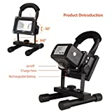 LTE LED Rechargeable Work Light, LTE Portable Outdoor Flood Light With Adapter and Car Charger,Outdoor Camping Security Lights 6000K Waterproof IP65 Daylight White (10W-Black)