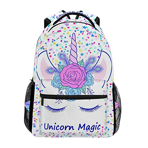 Price comparison product image ZOEO Girls Backpacks Cream Unicorn Head Magic Pink Floral Tiara Kids 3th 4th 5th Grade School Bookbags Travel Laptop Daypack Bag Purse for Teens