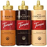 Torani Sauce 3 Pack Chocolate, Caramel, White Chocolate 16.5 Oz with NEW Packaging by Torani