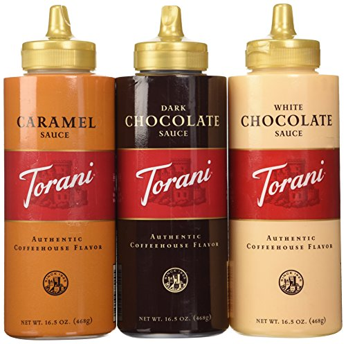 Torani Sauce 3 Pack Chocolate, Caramel, White Chocolate 16.5 Oz with NEW Packaging ()