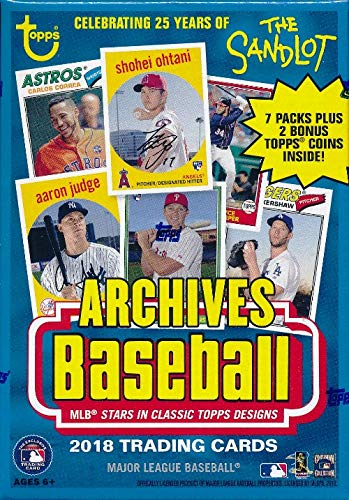 2018 Topps Archives Baseball EXCLUSIVE Factory Sealed Retail Box with BONUS PACK of 2 Topps Coins! Look for Auto's of Mike Trout, Shohei Ohtani, Ronald Acuna, Sandy Koufax, Derek Jeter & More! WOWZZER -